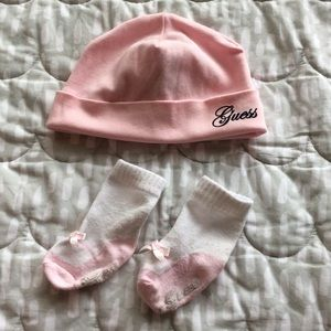Baby First GUESS Baby girl beanie and socks